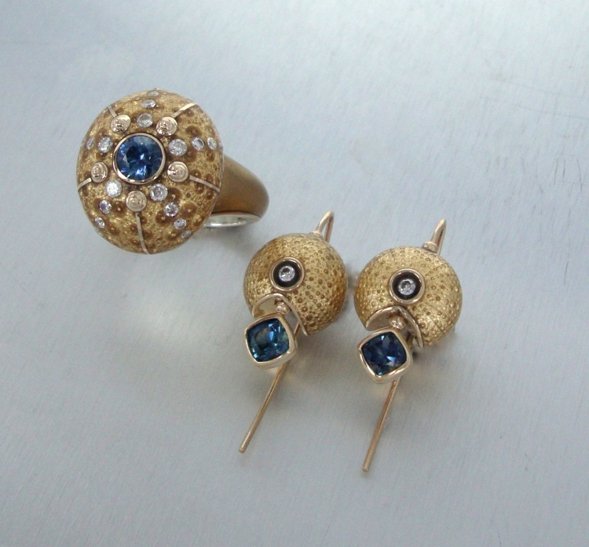 Sea Urchin Ring and Earrings