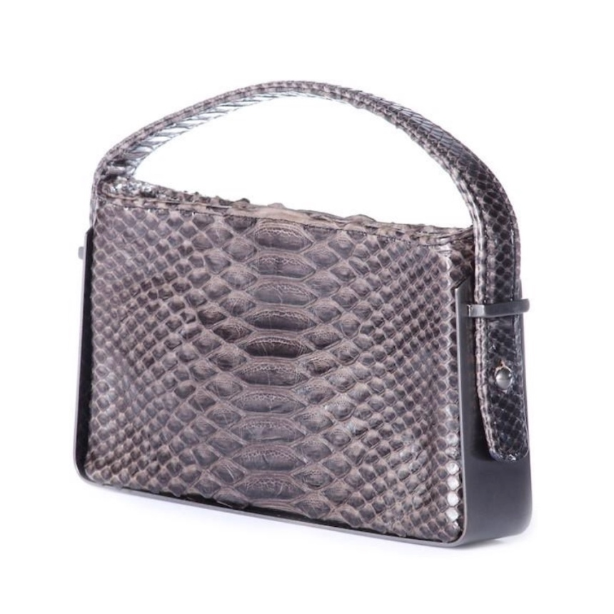 Dainty Box Clutch Grey Python Skin